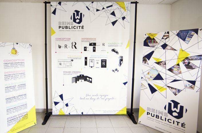 mini stand displays x banner x-banner bâche Reims Publicité