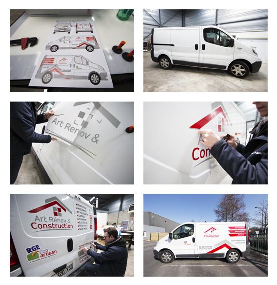 marquage véhicule adhésif art rénov & construction communication