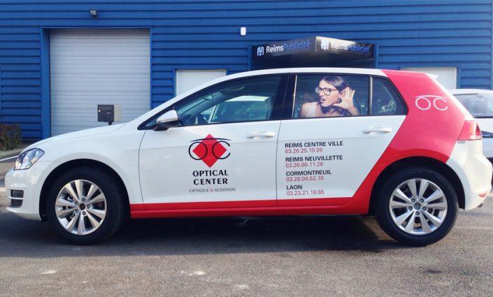 Marquage véhicule réalisé sur voiture en semi covering pour Optical Center