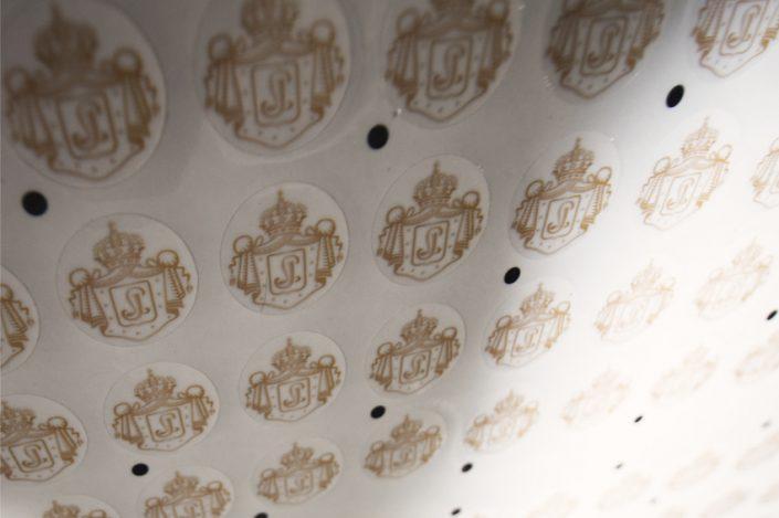impression stickers à la découpe champagne J. Lassalle communication