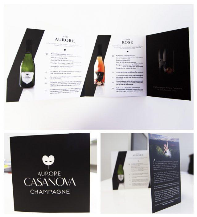 dépliants plaquettes publicitaire champagne aurore casanova impression communication