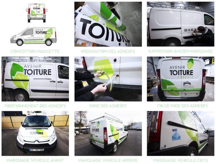 marquage véhicule utilitaire marquage classique adhésifs avenir toiture energie pose communication publicité