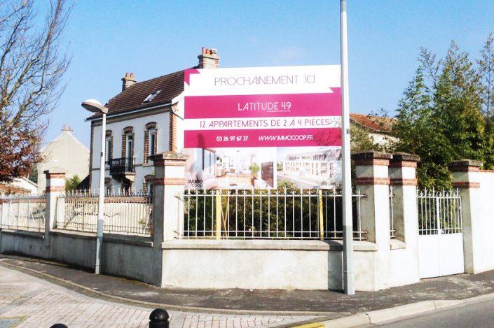 panneau immobilier immo coop reims signalétique communication publicité