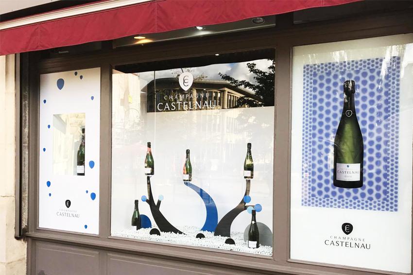 marquage habillage vitrine champagne castelnau communication signalétique