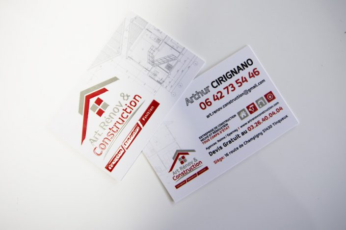 cartes de visite impression art rénov & construction communication
