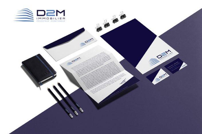 papeterie mockup d2m immobilier impression communication