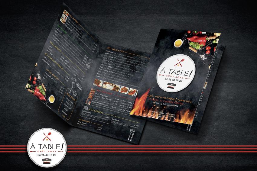 conception graphique mock up carte menu restaurant a table dépliants publicitaires communication publicité