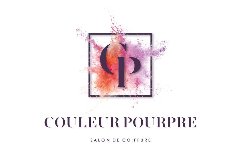identité visuelle conception graphique salon couleur pourpre tinqueux coiffure communication publicité