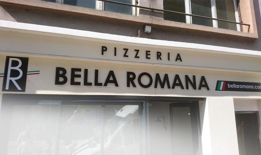 enseigne lettrage relief bella romana pizzeria signalétique communication publicité