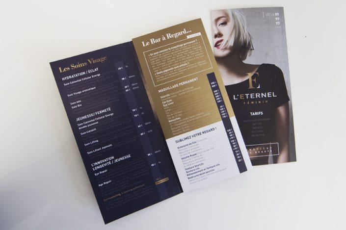 dépliant plaquette publicitaire l'eternel féminin institut de beauté soins communication impression publicité