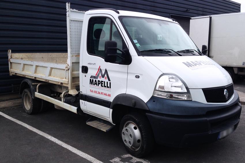 marquage véhicule utilitaire camion benne adhésifs mapelli sas communication publicité