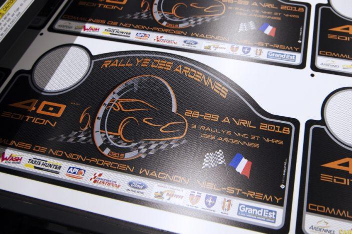panneau à la découpe petit format PVC souple Rallye des Ardennes impression Mimaki signalétique communication publicité