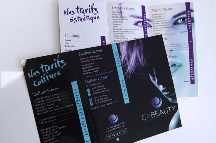 dépliants plaquettes publicitaires C&Beauty coiffure impression communication publicité
