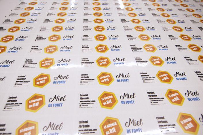 impression mimaki jfx 500-2131 étiquettes miel rucher du djé communication publicité