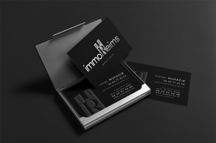 création graphique refonte logo charte graphique identité visuelle immo reims immoibilier cartes de visite design communication publicité