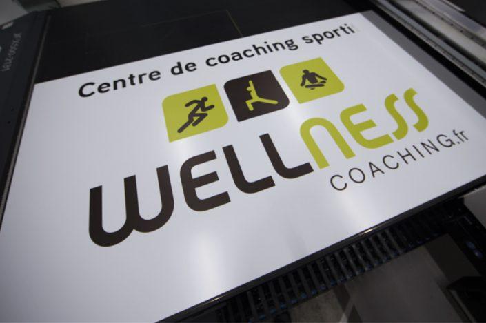 impression enseigne wellness coaching panneau dibond communication publicité