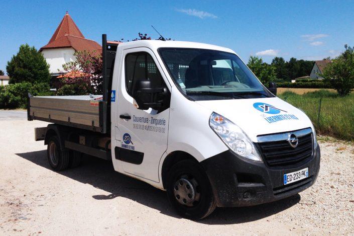 marquage véhicule adhésifs camion benne utilitaire Lhermite et fils communication publicité