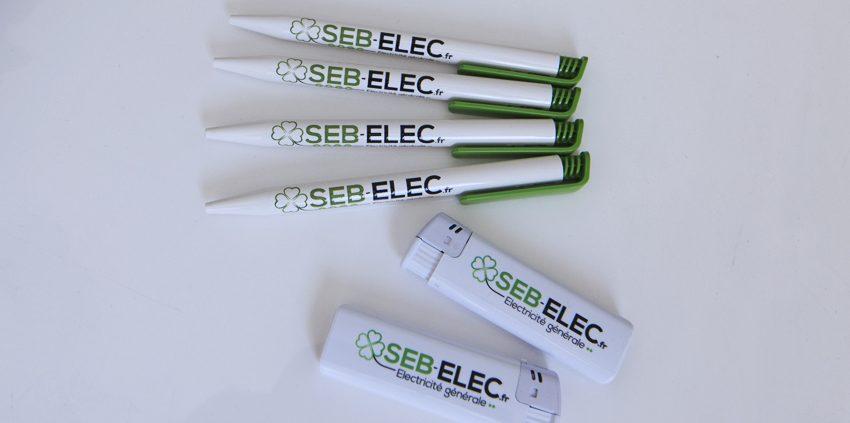 objet publicitaire goodies stylos briquet seb electricité impression communication publicité