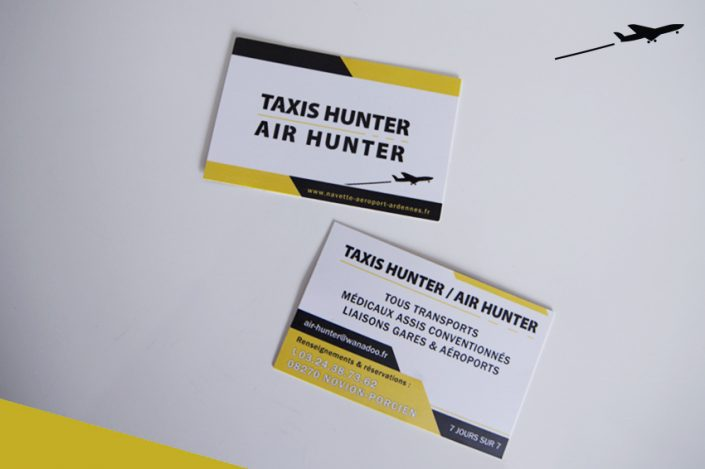 cartes de visite impression air taxi hunter communication publicité