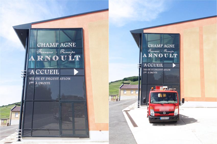marquage vitrine champagne arnoult adhésif polymère signalétique communication publicité