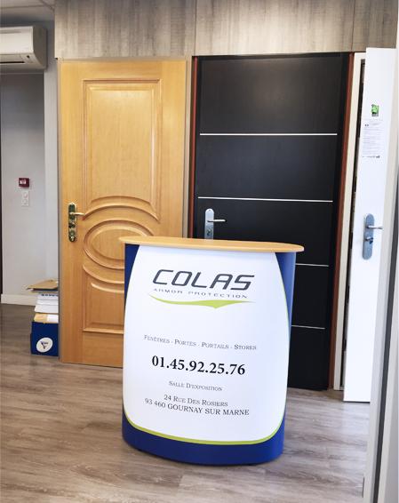comptoir 2x1 m pvc colas stand communication publicité signalétique