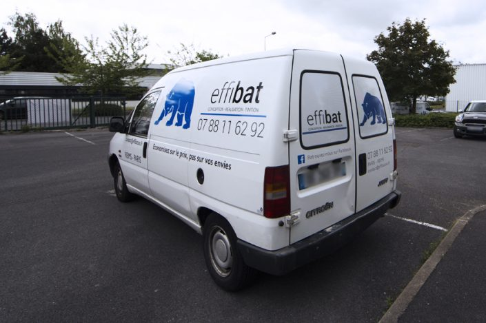 marquage véhicule utilitaire camionnette adhésif Effibat communication publicité