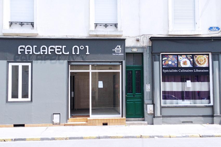 enseigne découpe à la forme lettrage alu brossé signalétique falafel n°1 restaurant reims communication publicité