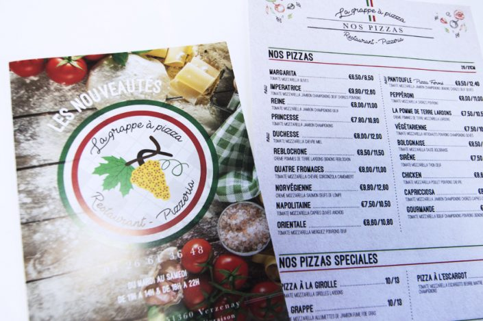flyers cartes menu la grappe a pizza conception graphique design impression communication publicité