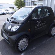 marquage véhicule voiture smart harold salon de thé adhésif communication publicité