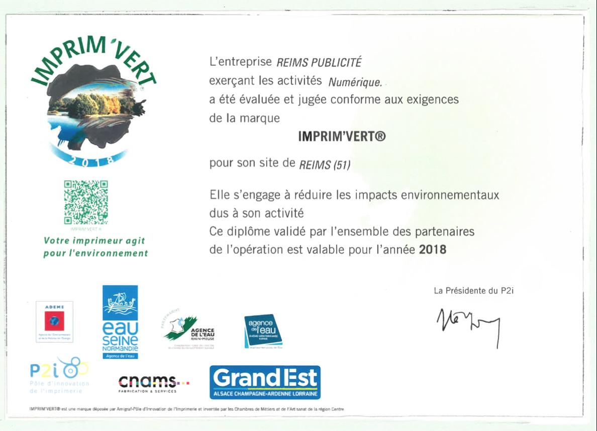 imprimeur certifiée imprimerie imprim'vert environnement écologie communication reims publicité