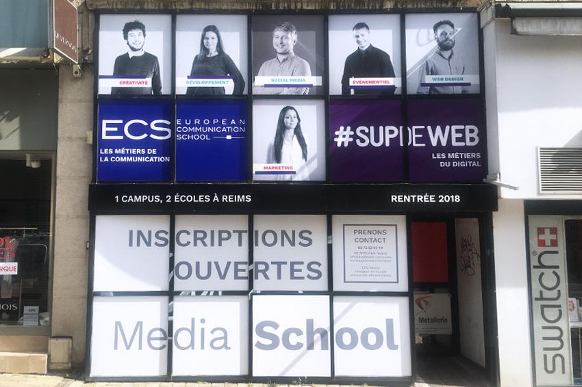 réalisation et pose d'adhésifs école ecs sup de web reims communication publicité