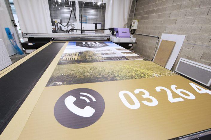 impression encre uv mimaki jfx 500-2131 panneau grand format 4x3m migneaux immobilier communication signalétique publicité