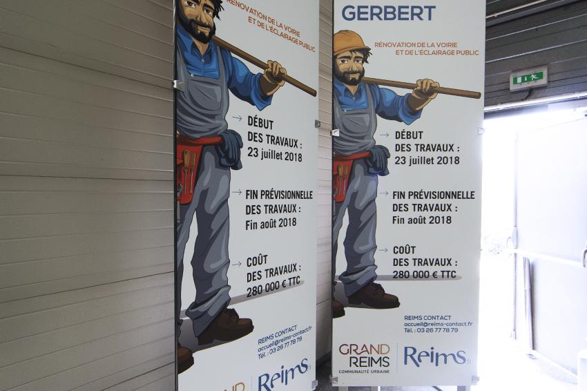 réalisation de totems signalétiques pour Ville de Reims et communauté d'agglomération Grand Reims