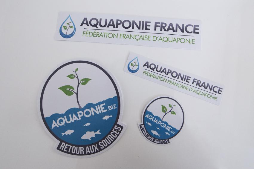 réalisation de stickers découpe à la forme pour la fédération aquaponie france