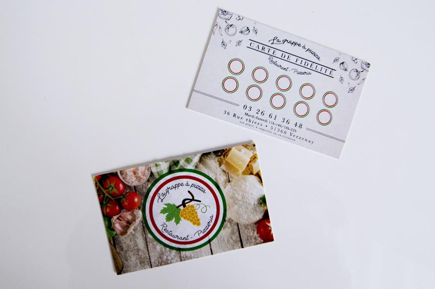 réalisation de cartes de fidélité grappe à pizza restaurant pizzeria