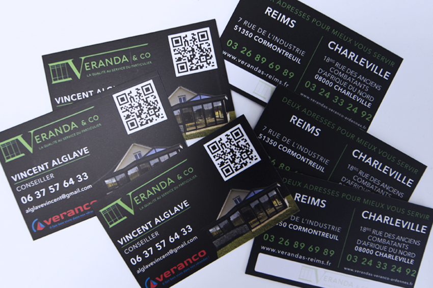 réalisation de cartes de visite pour Veranda&Co avec QR code