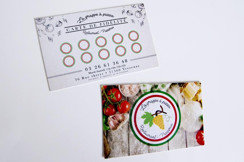 réalisation de cartes de fidélité pour la grappe à pizza restaurant pizzeria