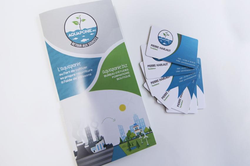 réalisation de dépliants et cartes de visite pour aquaponie biz