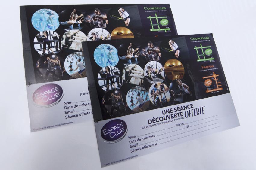 réalisation de flyers pour Espace Club Reims avec design et conception graphique