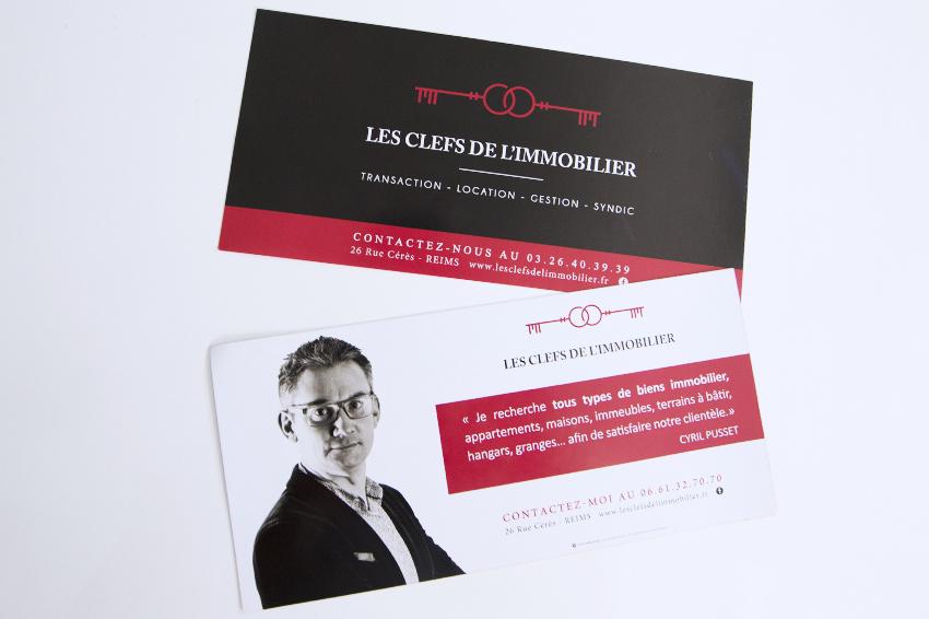 réalisation de flyers pour Les Clefs de l'Immobilier Reims