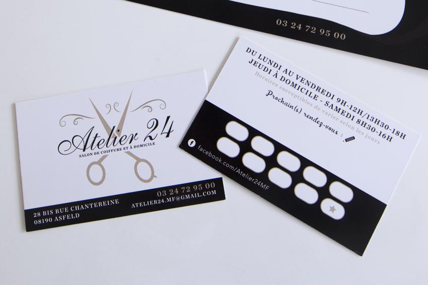 Ralisation De Cartes Visite Et Cadeau Pour Notre Client Atelier 24 Salon Coiffure Domicile