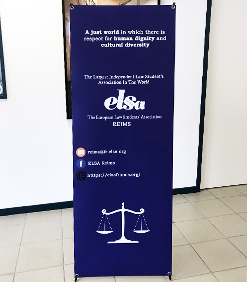 réalisation d'un roll-up pour notre client european law students association reims