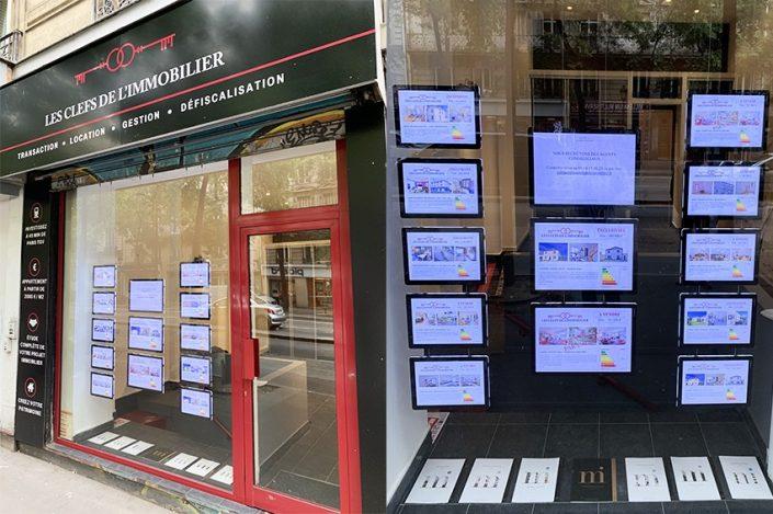 vitrine lumineuse écrans lumineux agence les clefs de l'immobilier reims