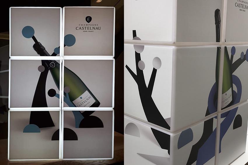 cubes lumineux displays communication champagne castelnau reims publicité