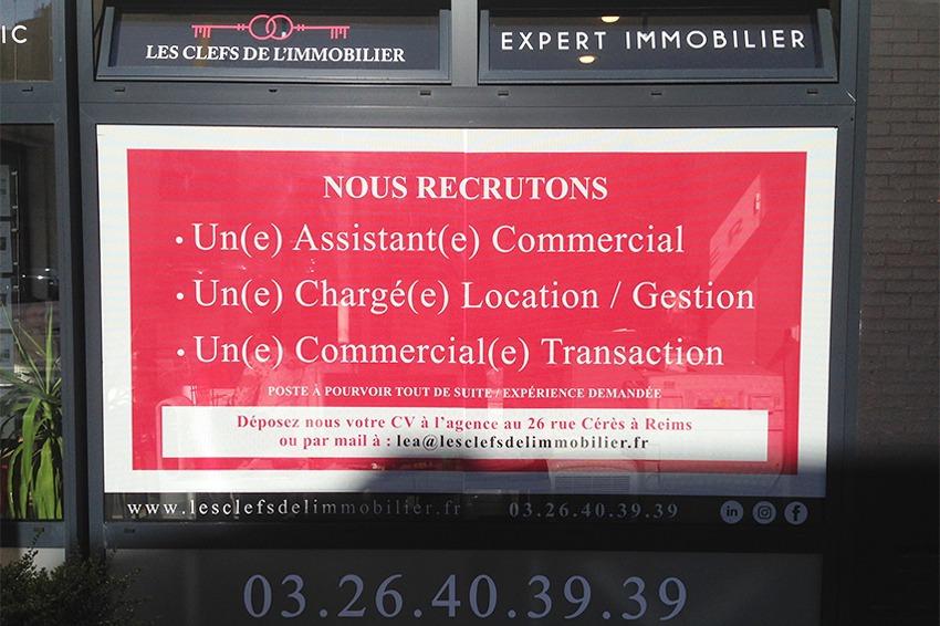 les clefs de l'immobilier marquage vitrine adhésif microperforé agence reims