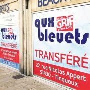 marquage vitrine aux bleuets art déco reims centre ville adhésifs signalétique