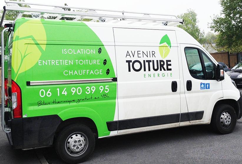 marquage voiture adhésif véhicule vinyle avenir toiture énergie communication reims publicité
